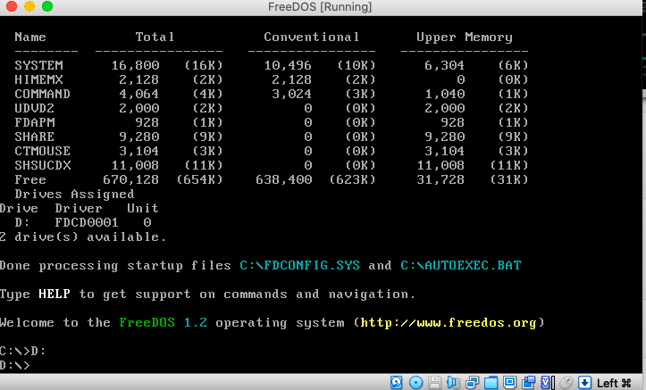FreeDOS Startup, after boot